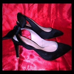 Billy Ella Black Velvet Heels with Bow Closure